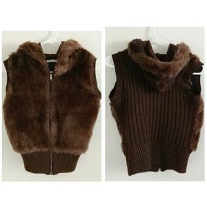 Charlotte russe brown faux fur knit hoodie vest